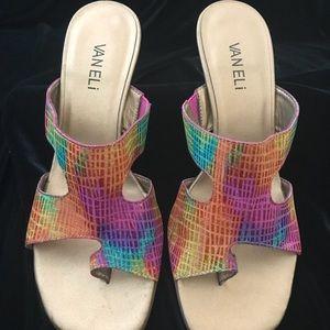 Vaneli low heel sandals 8.5 M EUC. Rainbow Color